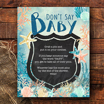 Don't Say Baby Shower Game Sign, Under the Sea Party, Nautical Beach Seashells Baby Shower, Mermaid Party, Coral Mint Gold, DIY Party