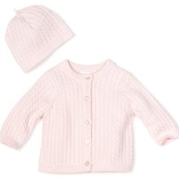 Little Me Baby Girl Newborn Adorable Cable Sweater, Light Pink, 6 Months