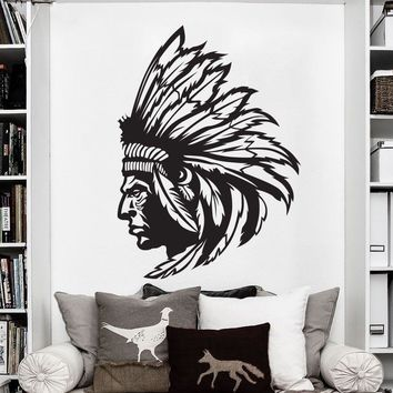 Redskin Native American Indian Chief Wall Decal Sticker Decor Wall Art Vinyl Waterproof wallpaper home decor