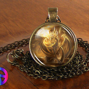 Golden Dragon Gothic Glass Dome Antique Vintage Necklace Pendant Jewelry Gift