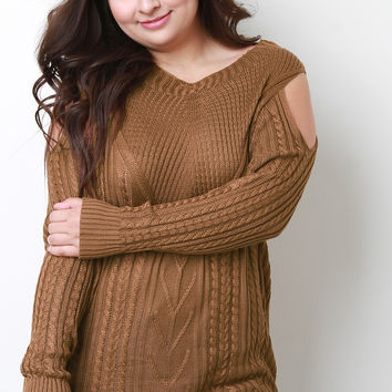 Plus Size Cold Shoulder Cable Knit Sweater | UrbanOG