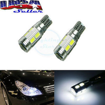 (2) HID White 10-SMD Error Free LED Bulbs For European Car Parking Eyelid Lights