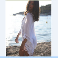 V-neck White Sun-proof Swimwear Cover Up Dresses