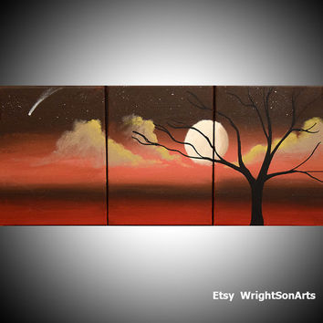 Original painting abstract triptych landscape large painting impasto wall canvas art black white Modern Palette Knife Painting 27 x 12 ""