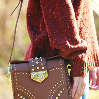 Rolling With The Punches Purse: Cognac/Gold