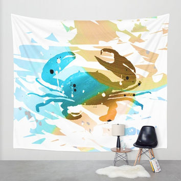 Wall Tapestry - Hanging Tapestry - Abstract Acrylic Painting Colorful Crab – Color brown and blue - Art-Home decor-Made to order