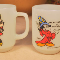 Vintage Milk Glass Anchor Hocking Pepsi - Mickey Mouse in Fantasia & Minnie Mouse Cups