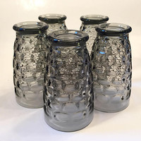 Yorktown Smoky Gray Tumblers, Set of 5 Grey Thumbprint Tumblers,  Federal Yorktown Footed Drinking Glasses