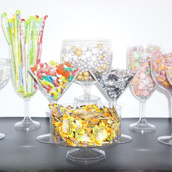 11 pc Deluxe Plastic Candy Buffet Jars. Create the Perfect Party Atmosphere with your own Candy Table Buffet Kit. Great For Weddings and Parties!