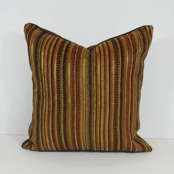 Decorative Chenille Pillow Cover, Throw Pillow Cushion, Gold, Brown, Burgundy, Olive Green