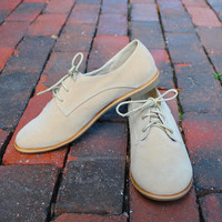 """Eugenia"" Suede Lace Up Oxfords - Ivory"