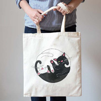 Black and White Kitty Cat Hug Illustration Print Natural Canvas Tote Shopper Bag | Gifts for Cat Lovers
