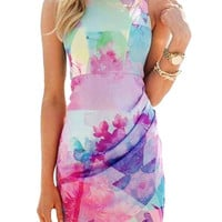 Multi color Floral Print Sleeveless Dress