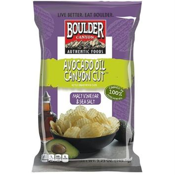 Boulder Canyon: Avocado Oil Canyon Cut Potato Chips Malt Vinegar & Sea Salt, 5.25 Oz