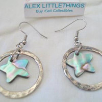Abalone Star Hoop Earrings Celestial Shell Hammered Finish Jewelry Iridescent