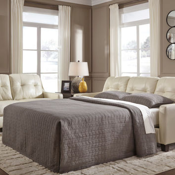 Okean collection galaxy colored leather match upholstered queen sleeper sofa with squared arms