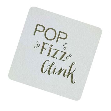 POP Fizz Clink Coasters Printed with Old Gold pack of 4