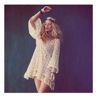 Vintage Inspired Cream Lace Tunic with Fringe Tassel Hem