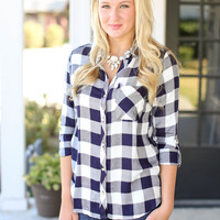 All or Nothing Plaid Top - Navy and Ivory