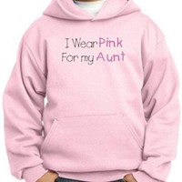 Breast Cancer Awareness Kids Hoodie Ribbon I Wear Pink For My Aunt Youth Pullover Hoody Pink