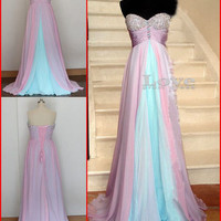 Cheap A line Sweetheart Long Formal Dresses, Chiffon Long Prom Dresses, Evening Dresses