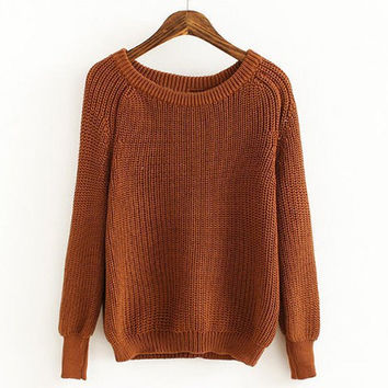 Coffee Long Sleeves Pullover Sweater