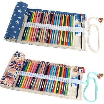 Damero 2pcs/pack Canvas Pencil Wrap case, Pencils Roll Hold For 72 Colored Pencils (NO Pencils included), UK Style+Blue Star, 72 Holes