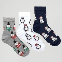 ASOS Christmas Cracker 3 Pack Ankle Socks at asos.com