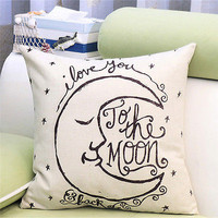 Moon Cotton linen Throw Pillow Cases Home Decor Cushion Cover Square Pillow HU
