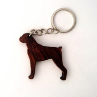 Wooden Boxer Dog Keychain, Boxer Animal Keychain, Dog Keychain, Walnut Wood, Environmental Friendly Green materials