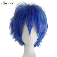 SNOILITE Halloween Short Synthetic Hair Straight Full Bob Wigs Style for Cosplay Party Black None Lace Wigs
