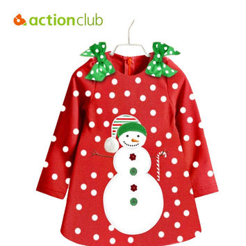 2015 2-7 Year Kids Christmas Dresses For Girls Baby Girls Dot A Dress With Bow Cute Button Snowman Clothing Free Shipping KD422