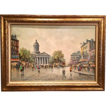 Vintage 1950s Mid Century Retro Antonio Devity Signed Original Oil Painting Paris Street Scene Gilt Period Wood Frame