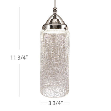 WAC Lighting MP-LED499-CR/CH Madison Chrome Clear Crackled Shade Glass LED Mini Pendant