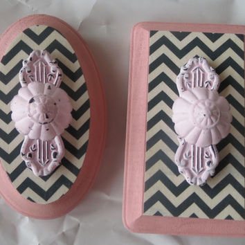 Pink and Gray Chevron Babies Room Decor Wall Hanger - Nursery