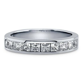 A Perfect 2.1TCW Channel Set Princess Russian Lab Diamond Half Eternity Ring