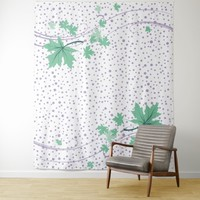 Maple leaves mint and lavender polka dots tapestry