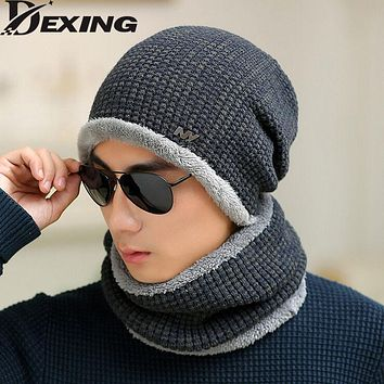 [Dexing]set male sheep knitted hat winter hat beanies for men women cap cold thermal muffler scarf new year father gfit