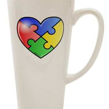 Big Puzzle Heart - Autism Awareness 16 Ounce Conical Latte Coffee Mug by TooLoud