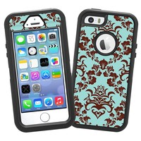 """Classic Brown and Blue Damask """"Protective Decal Skin"""" for OtterBox Defender iPhone 5s Case"""