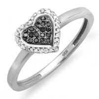 0.15 Carat (ctw) Sterling Silver Round Black and White Diamond Ladies Promise Heart Love Engagement Ring (Size 7)
