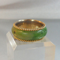 Vintage Jade Ring. Green Jade. Jadeite. Eternity Band.