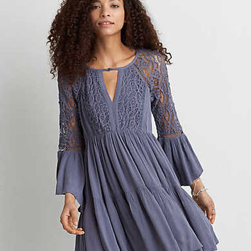 AEO Tiered Keyhole Dress, Blue