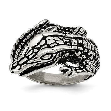 Stainless Steel Antiqued Alligator Ring