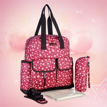 2015 New Brand 4 colors Star Print Nappy Bags Fashion Backpack &Messenger And Multifunctional Baby Diaper Bags Mommy Bags