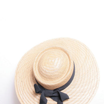 Adorable Vintage Straw Woven Summer Beach Hat with Black Ribbon Made in Italy
