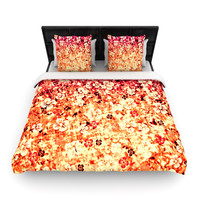 "Ebi Emporium ""Flower Power in Orange"" Red Floral Lightweight Duvet Cover"