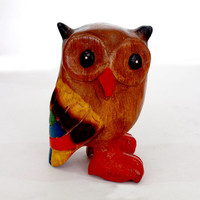 Hand Carved Wooden Rosewood Owl Figurine owl decor owl art anniversary teacher gift graduation gift for him old Sri Lanka technology