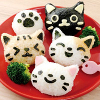 OMUSUBINYAN -- Cat Rice Mold and Face Parts Cutter