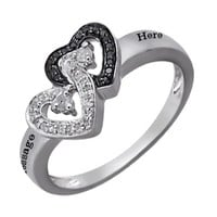 Kay - 1/8 Ct. tw Diamond Couple's Heart Ring Sterling Silver